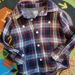 Baby Gap Linen Blend Plaid Button Down